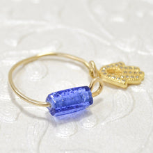 Load image into Gallery viewer, Gold Filled Wire Hamssah Blue bead Ring