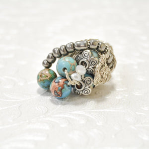 Silver Plated Wire Jasper Ring