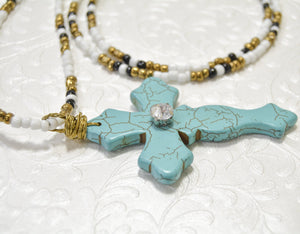 Large Long TURQUOISE Cross Pendant Necklace