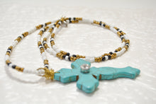 Load image into Gallery viewer, Large Long TURQUOISE Cross Pendant Necklace