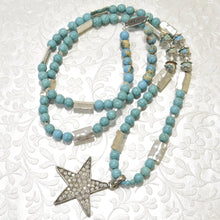 Load image into Gallery viewer, Long TURQUOISE Rhinestones Star Pendant Necklace