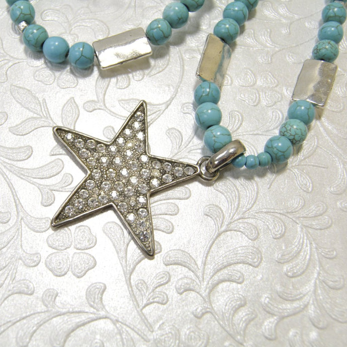 Long TURQUOISE Rhinestones Star Pendant Necklace