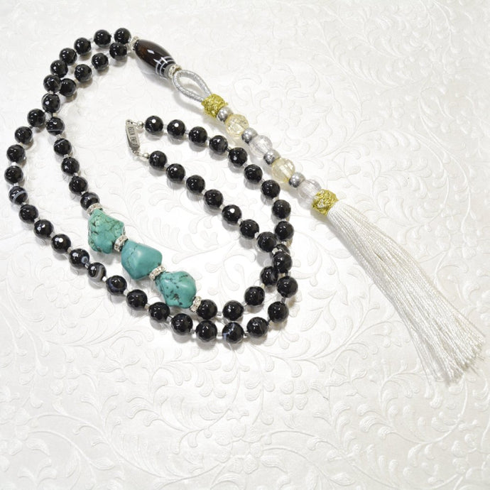 Large Black Agate Turquoise Nugget Long Tussle necklace