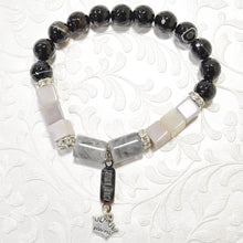 Load image into Gallery viewer, Black Agate Granite charm Bracelet