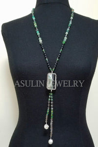 Genuine Onyx and Agate CZ Necklace