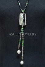 Load image into Gallery viewer, Genuine Onyx and Agate CZ Necklace