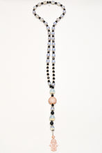 Load image into Gallery viewer, Genuine Moon Stone, Onyx beads with 24k rose gold plated connector and hamssa with CZ long necklace