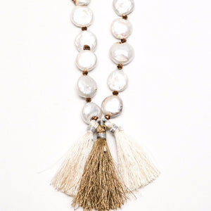 Genuine mother of pearl unique nuggets with bronze little beads and three tassels necklace