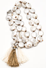 Load image into Gallery viewer, Genuine mother of pearl unique nuggets with bronze little beads and three tassels necklace