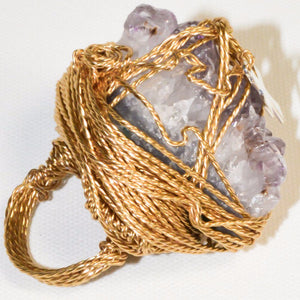 Gold Plated Natural Amethyst Geode Ring w/a Cross