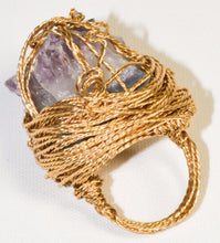 Load image into Gallery viewer, Gold Plated Natural Amethyst Geode Ring w/a Cross