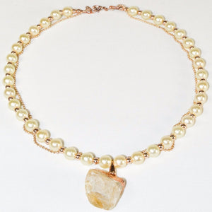 Gray Quartz Geode Pearl Necklace w/a Rose Gold Plated Chain