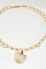 Load image into Gallery viewer, Gray Quartz Geode Pearl Necklace w/a Rose Gold Plated Chain