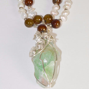 Green Calcite Geode & Fresh Water Pearl Rose Gold plated Necklace