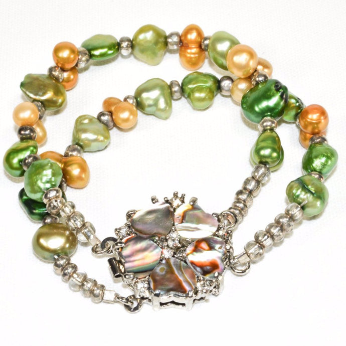 Green Yellow Fresh Water Pearls with Mother of Pearl Bracelet