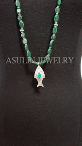 Genuine Green Agate Sterling Silver Fish Pendant Necklace