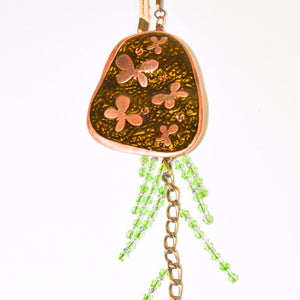 Bronze Butterfly Pendant Necklace with Bead Tassels