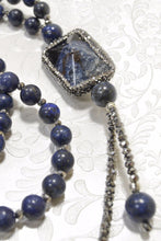 Load image into Gallery viewer, Lapis Stone, Onyx Swarovski CZ Pendant Necklace