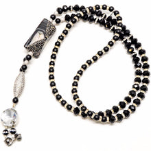 Load image into Gallery viewer, Large Genuine Onyx Stone w/CZ Sterling Silver w/CZ Long necklace