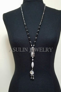 Large Genuine Onyx Stone w/CZ Sterling Silver w/CZ Long necklace
