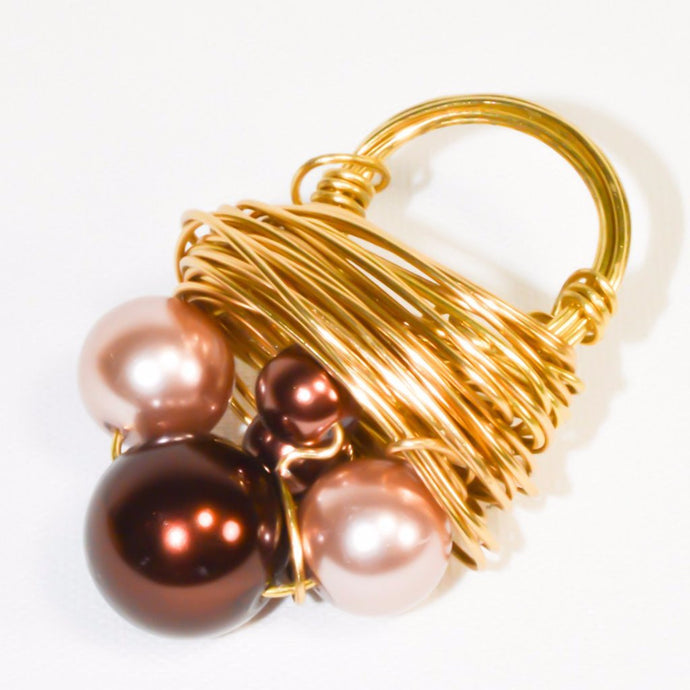 Pinkish Bronze Pearl Gold Color Wire Cluster Ring