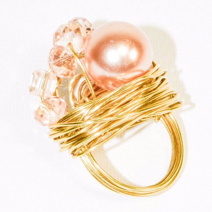 Large Pinkish Color Pearl Gold Color Wire Ring