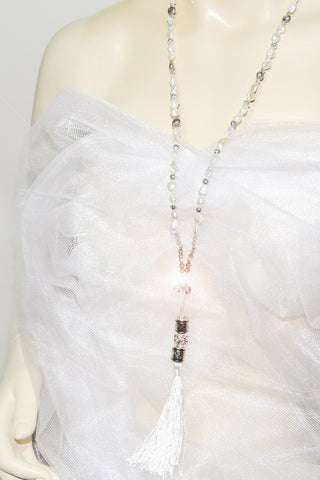 Long White Gray Fresh Water Pearls white Tassel Necklace