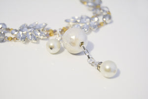 Long Silver Rhinestones Glass Beads Necklace