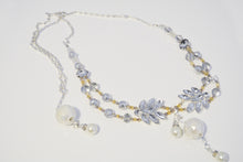 Load image into Gallery viewer, Long Silver Rhinestones Glass Beads Necklace