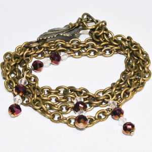 Loop links Bronze color Chain w/Glass beads bracelet