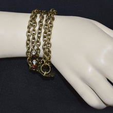Load image into Gallery viewer, Loop links Bronze color Chain w/Glass beads bracelet