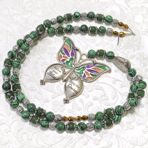 Malachite Stone, Butterfly Pendant Necklace