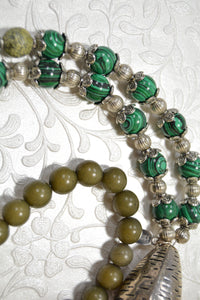 Malachite Stone, Green Jades, large Metal Beads, Colorful Druzy Stone Necklace