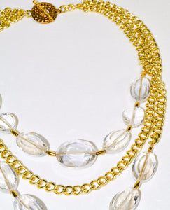 Multi Gold Chain Clear Beads