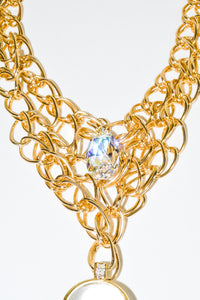 Multi Gold Chain Crystal Necklace