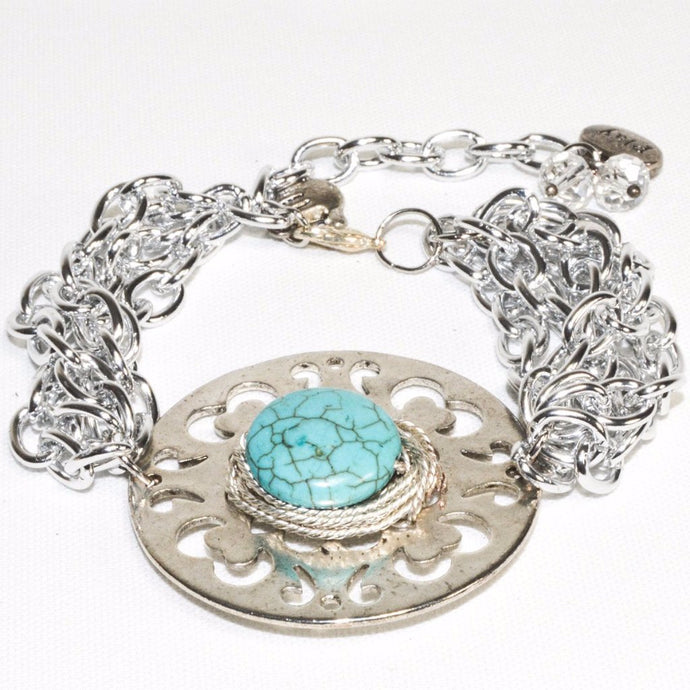 Multi Link Chain Turquoise Bracelet