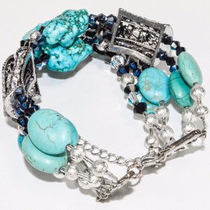 Multi-Strand Turquoise Silver Color Bracelet