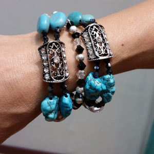 Multi Strand Turquoise Silver Color Bracelet