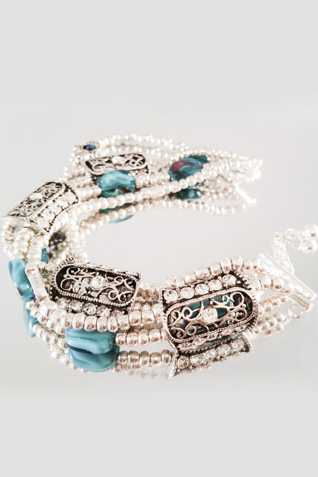 Multi strand, Turquoise and Silver Color Beads Bracelet