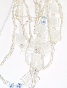 Long Multi Strand Flat Glass Beads Necklace