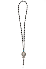 Load image into Gallery viewer, Genuine Onyx and Pirate Stones Sterling Silver Fish Pendant Necklace