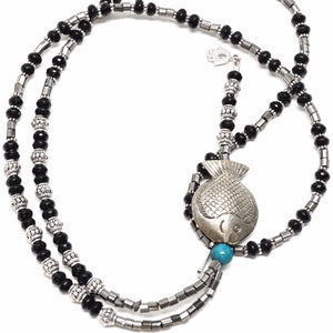 Genuine Onyx and Pirate Stones Sterling Silver Fish Pendant Necklace