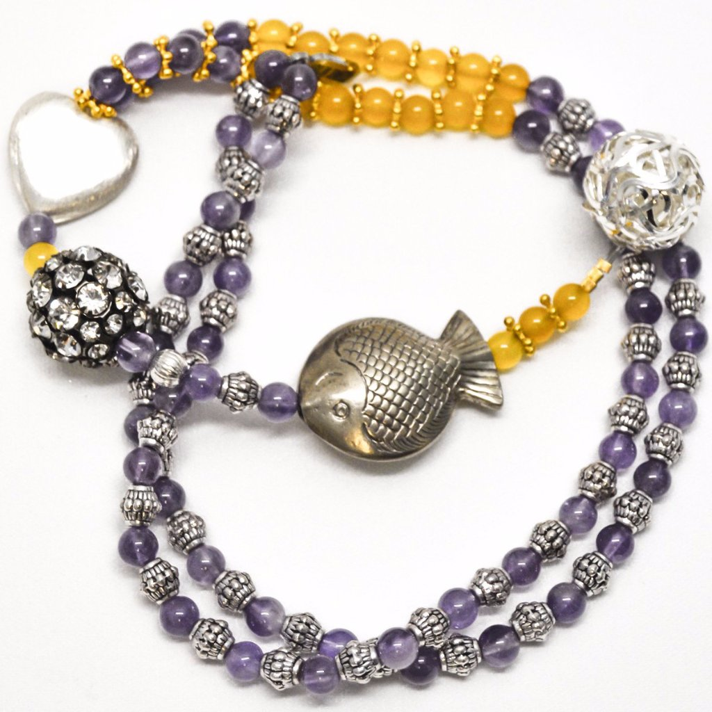 Genuine Purple and Yellow Jade Beads Stones Sterling Silver Fish Pendant Necklace