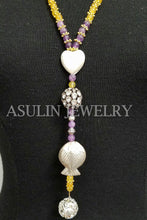 Load image into Gallery viewer, Genuine Purple and Yellow Jade Beads Stones Sterling Silver Fish Pendant Necklace