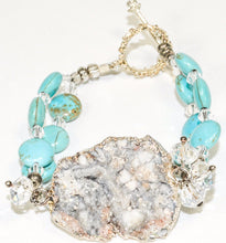 Load image into Gallery viewer, Quartz Geode Turquoise Silver color metal Bracelet
