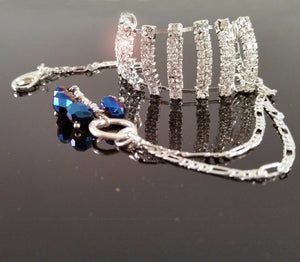 Rhinestone Silver Design Blue Glass Beads Chain Bracelets/Anklet