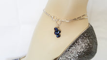 Load image into Gallery viewer, Rhinestone Silver Design Blue Glass Beads Chain Bracelets/Anklet