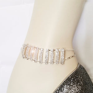 Rhinestone Silver Light Blue Glass Beads Chain Bracelet / Anklet 9""