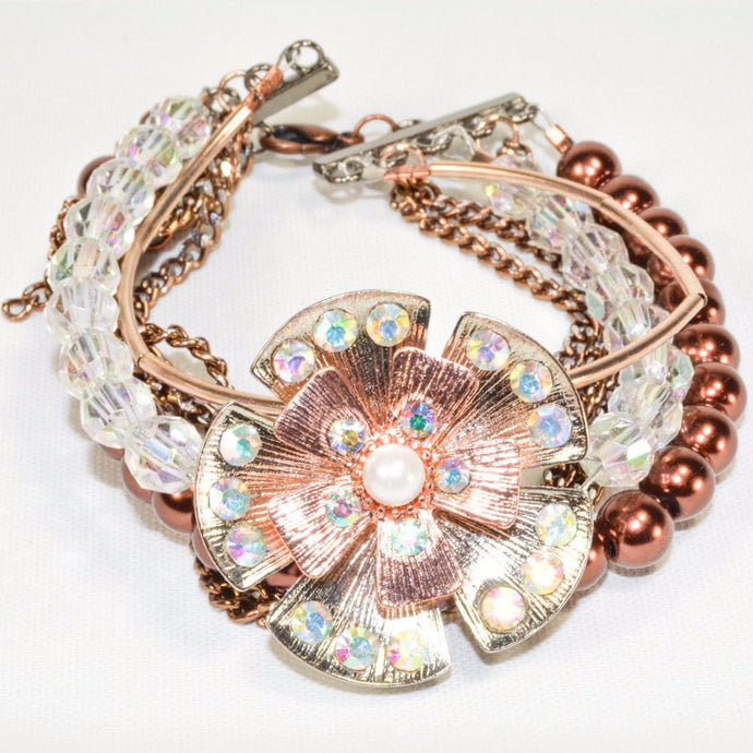 Rose Gold Plated Bronze Flower Beads Bracelet