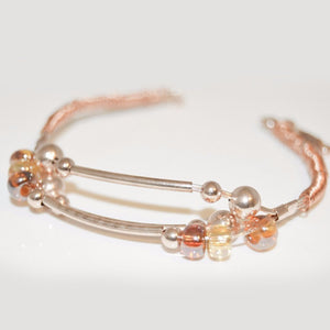 Rose Gold Plated Wire Cuff Bracelet w/golden Glass Beads